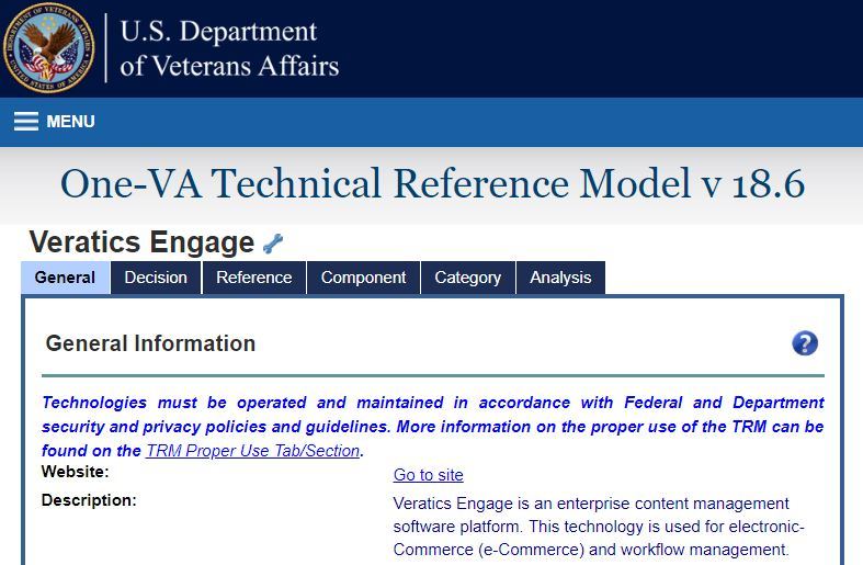 One-VA Technical Reference Model